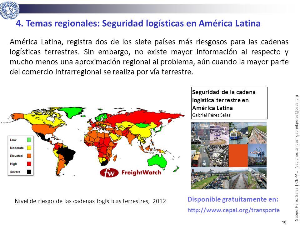 Nivel de riesgo de las cadenas logísticas terrestres, 2012