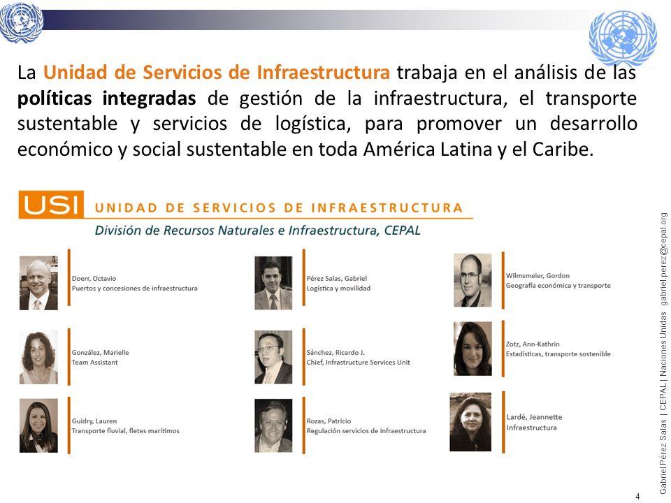 La Unidad de Servicios de Infraestructura trabaja en el análisis de las políticas integradas de gestión de la infraestructura, el transporte sustentable y servicios de logística, para promover un desarrollo económico y social sustentable en toda América Latina y el Caribe.