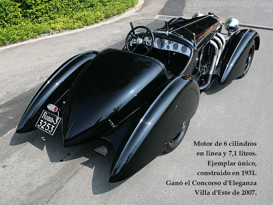 Motor de 6 cilindros en linea y 7,1 litros. Ejemplar único, construido en 1931. Ganó el Concorso d Eleganza.