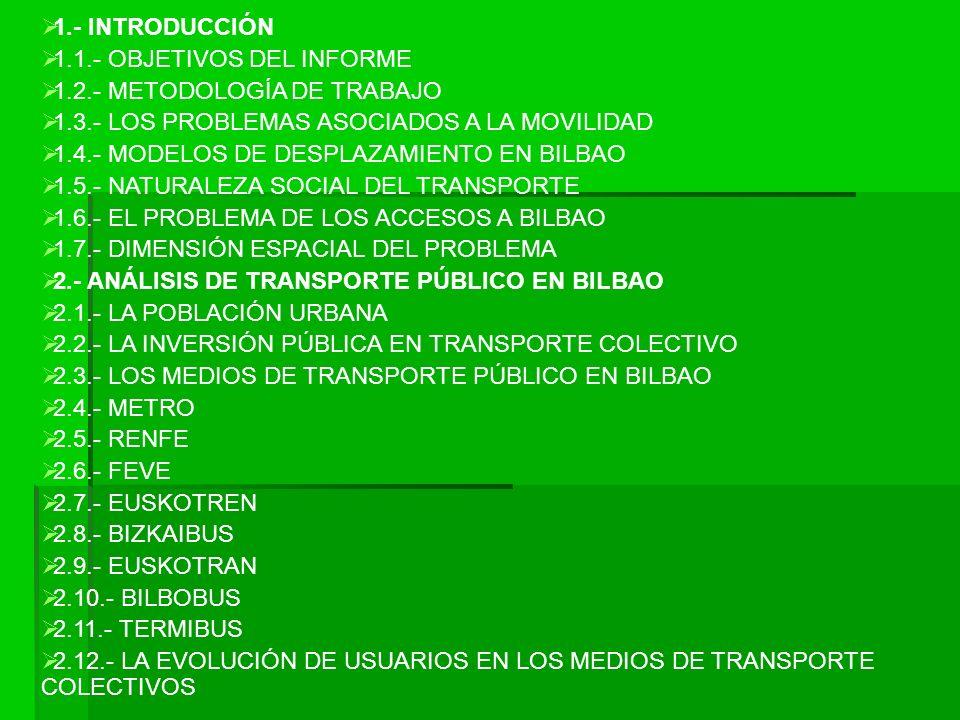 1.- INTRODUCCIÓN 1.1.- OBJETIVOS DEL INFORME. 1.2.- METODOLOGÍA DE TRABAJO. 1.3.- LOS PROBLEMAS ASOCIADOS A LA MOVILIDAD.
