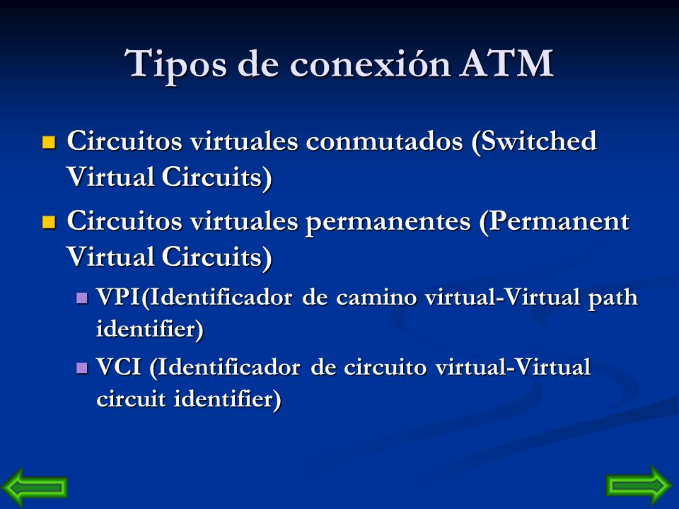 Tipos de conexión ATM Circuitos virtuales conmutados (Switched Virtual Circuits) Circuitos virtuales permanentes (Permanent Virtual Circuits)
