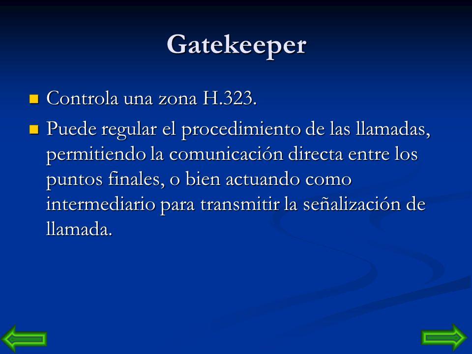 Gatekeeper Controla una zona H.323.