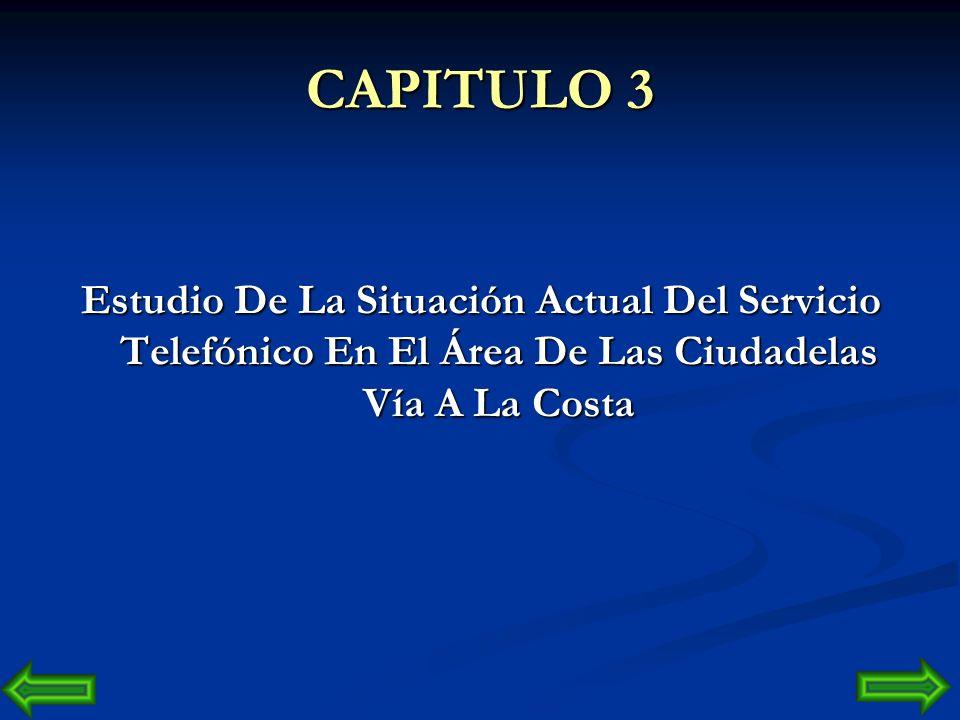 CAPITULO 3 Estudio De La Situación Actual Del Servicio Telefónico En El Área De Las Ciudadelas Vía A La Costa.
