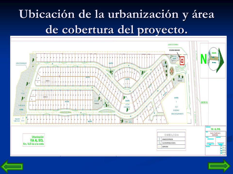 Ubicación de la urbanización y área de cobertura del proyecto.
