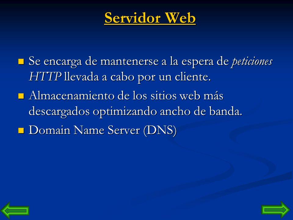 Servidor Web Se encarga de mantenerse a la espera de peticiones HTTP llevada a cabo por un cliente.