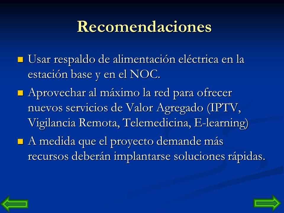 Recomendaciones Usar respaldo de alimentación eléctrica en la estación base y en el NOC.