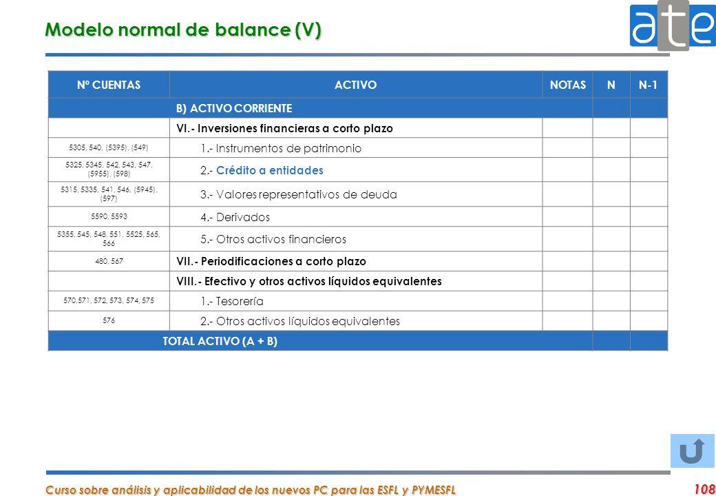 Modelo normal de balance (V)