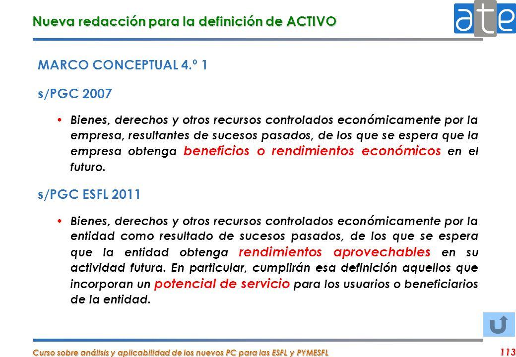 Nueva redacción para la definición de ACTIVO
