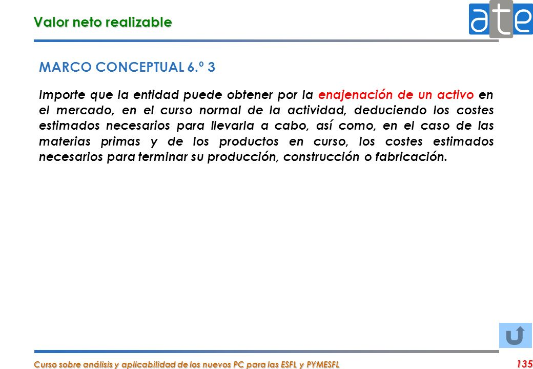 Valor neto realizable MARCO CONCEPTUAL 6.º 3