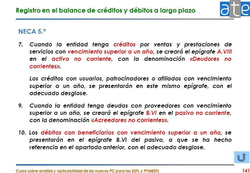 Registro en el balance de créditos y débitos a largo plazo