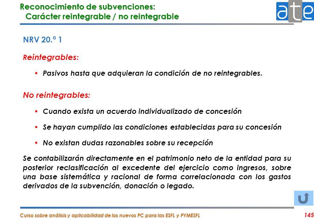 Reconocimiento de subvenciones: Carácter reintegrable / no reintegrable
