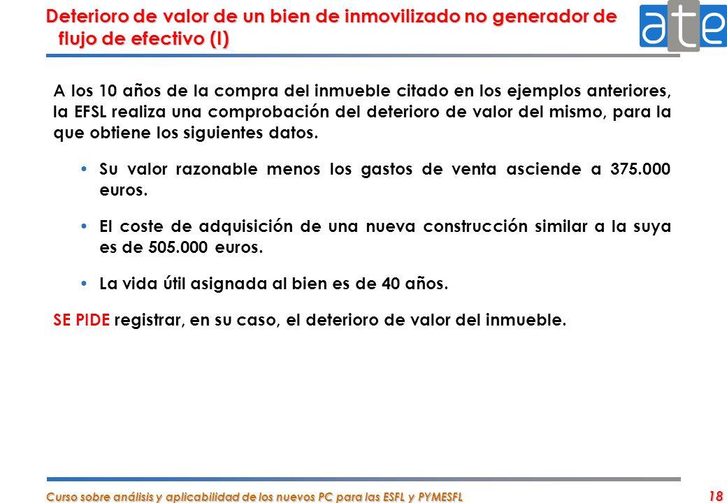 Deterioro de valor de un bien de inmovilizado no generador de flujo de efectivo (I)