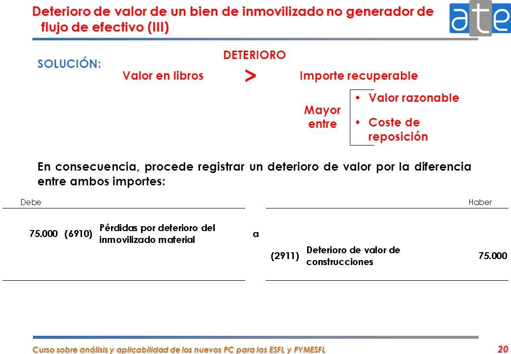 Deterioro de valor de un bien de inmovilizado no generador de flujo de efectivo (III)