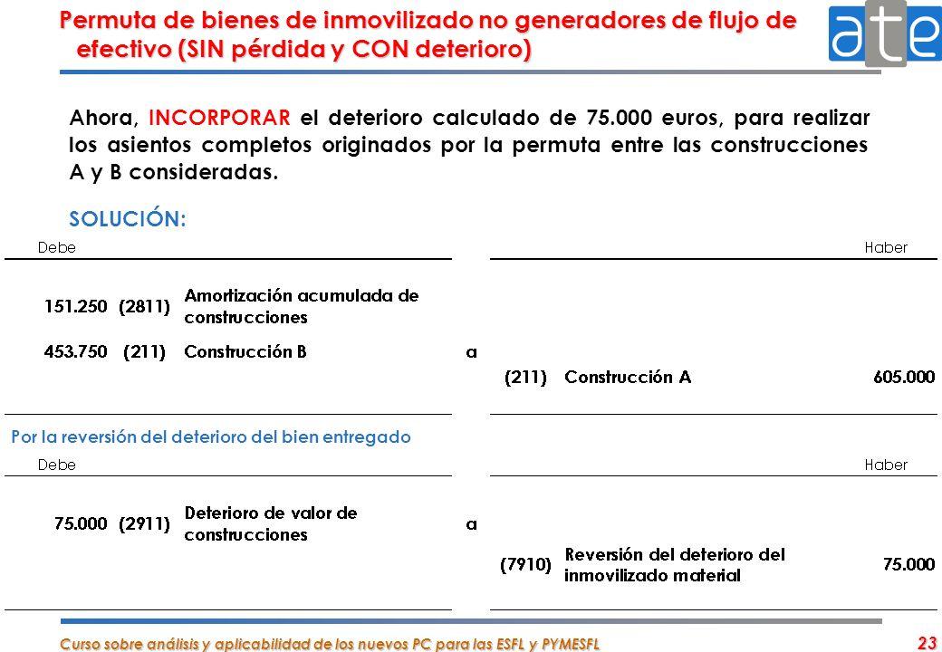 Permuta de bienes de inmovilizado no generadores de flujo de efectivo (SIN pérdida y CON deterioro)