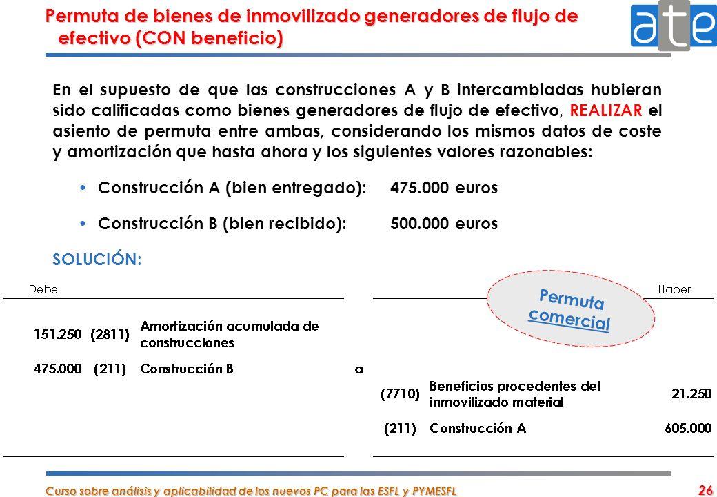 Permuta de bienes de inmovilizado generadores de flujo de efectivo (CON beneficio)