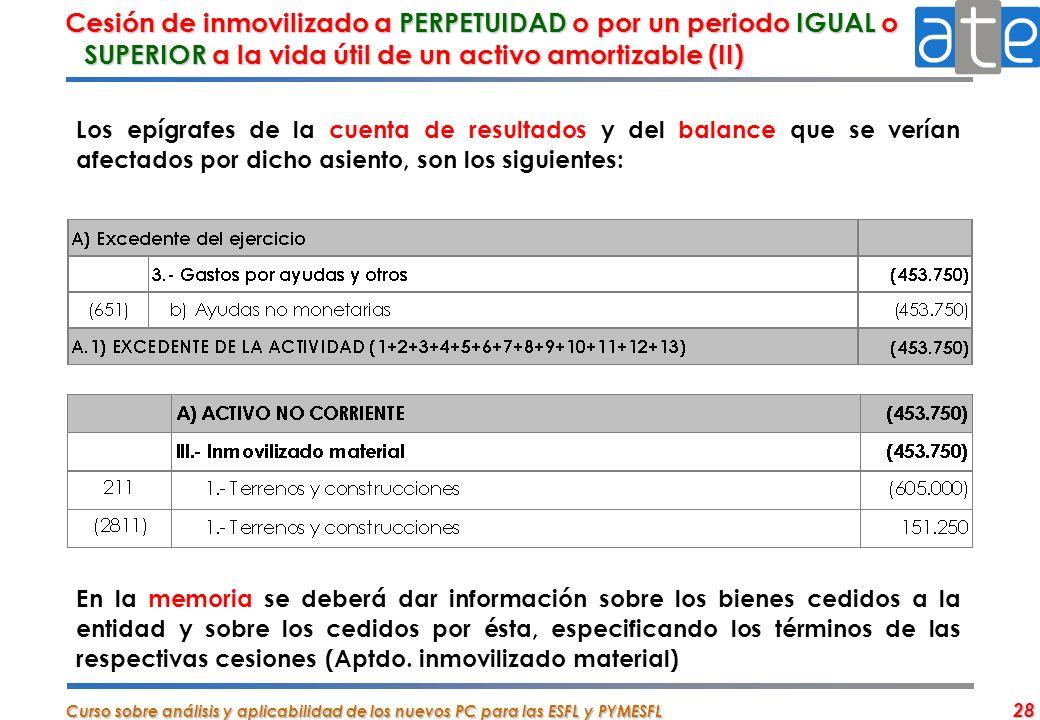 Cesión de inmovilizado a PERPETUIDAD o por un periodo IGUAL o SUPERIOR a la vida útil de un activo amortizable (II)