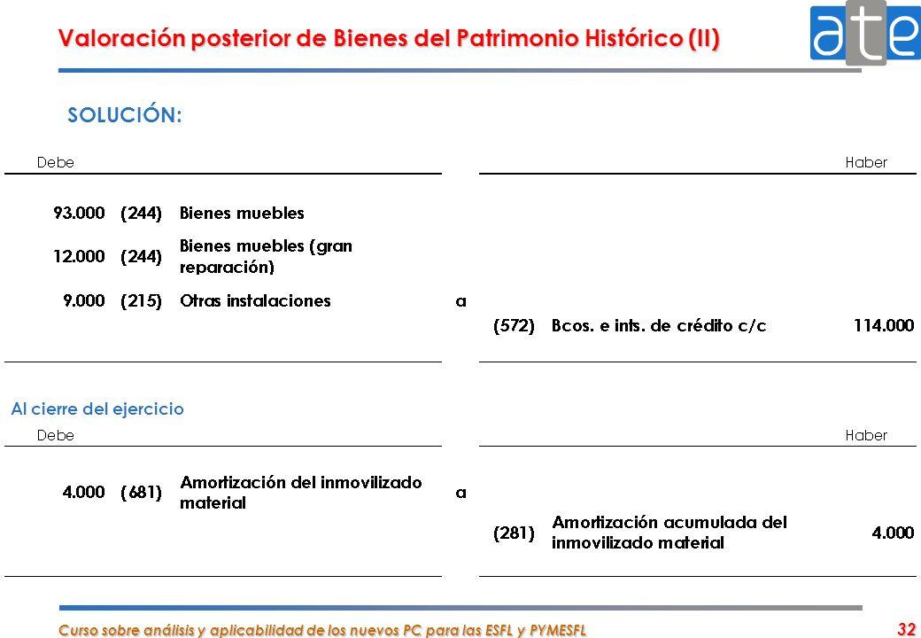 Valoración posterior de Bienes del Patrimonio Histórico (II)