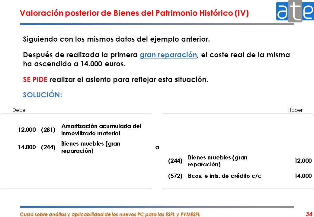 Valoración posterior de Bienes del Patrimonio Histórico (IV)