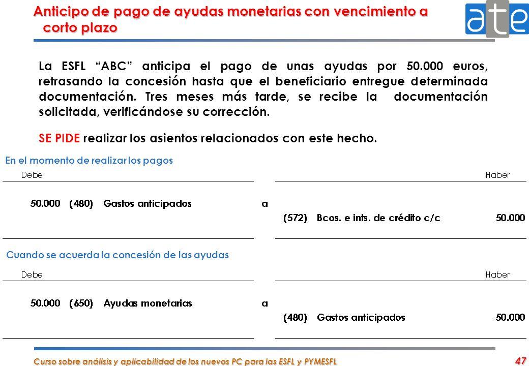Anticipo de pago de ayudas monetarias con vencimiento a corto plazo