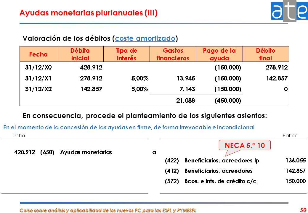 Ayudas monetarias plurianuales (III)