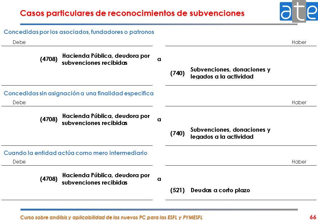 Casos particulares de reconocimientos de subvenciones