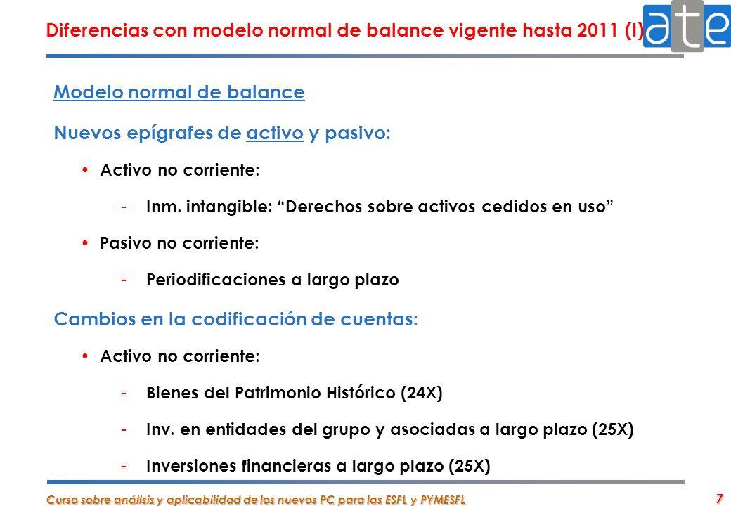 Diferencias con modelo normal de balance vigente hasta 2011 (I)