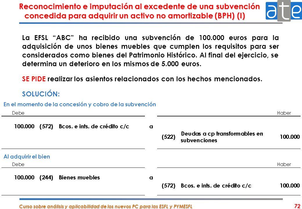Reconocimiento e imputación al excedente de una subvención concedida para adquirir un activo no amortizable (BPH) (I)