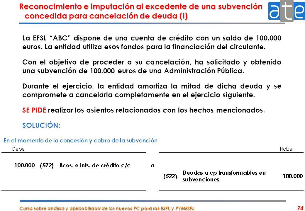 Reconocimiento e imputación al excedente de una subvención concedida para cancelación de deuda (I)
