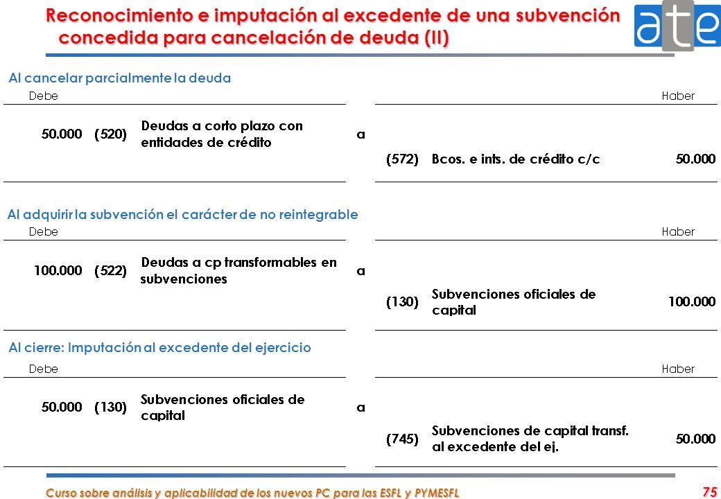 Reconocimiento e imputación al excedente de una subvención concedida para cancelación de deuda (II)