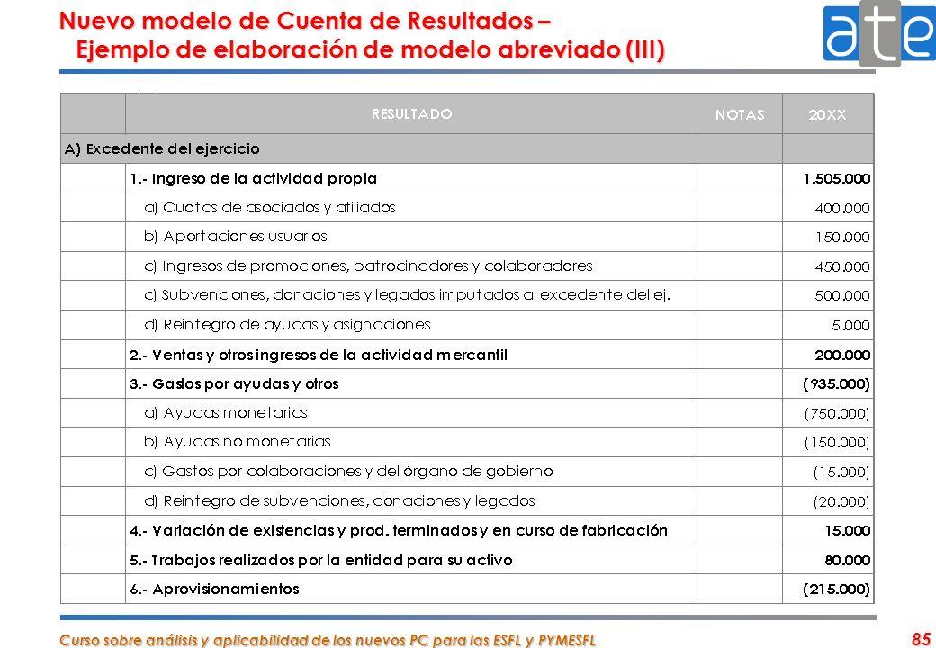 Nuevo modelo de Cuenta de Resultados – Ejemplo de elaboración de modelo abreviado (III)