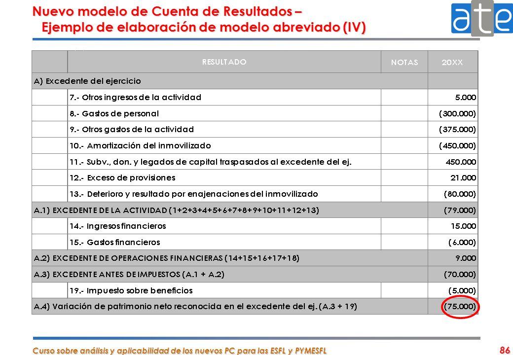Nuevo modelo de Cuenta de Resultados – Ejemplo de elaboración de modelo abreviado (IV)