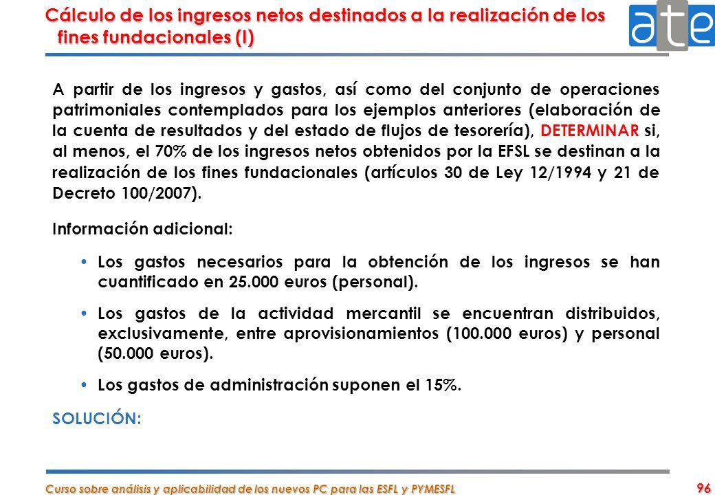 Cálculo de los ingresos netos destinados a la realización de los fines fundacionales (I)
