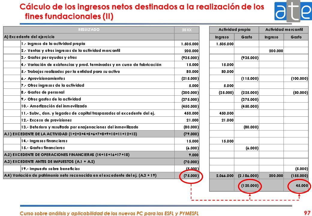 Cálculo de los ingresos netos destinados a la realización de los fines fundacionales (II)