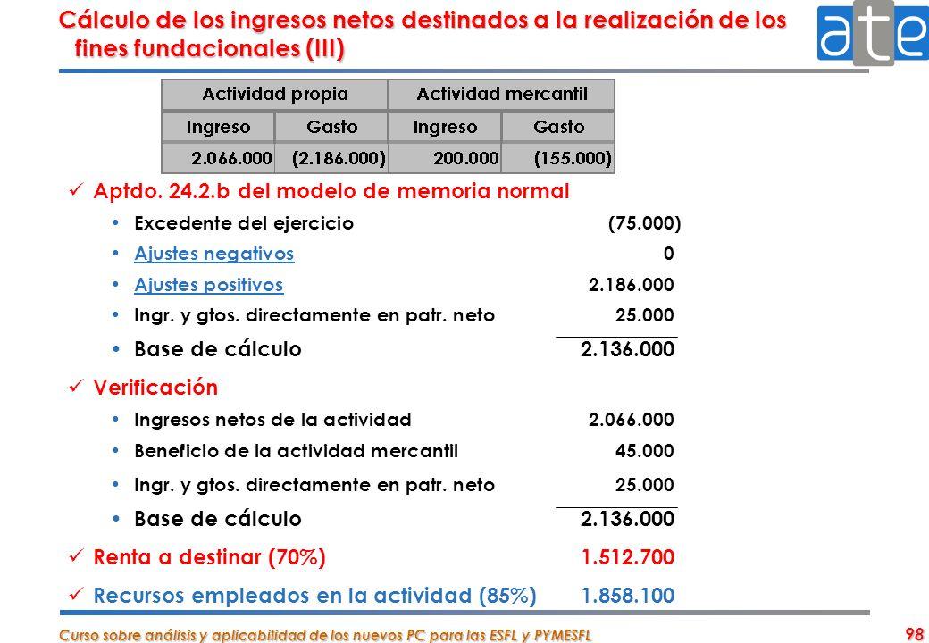 Cálculo de los ingresos netos destinados a la realización de los fines fundacionales (III)