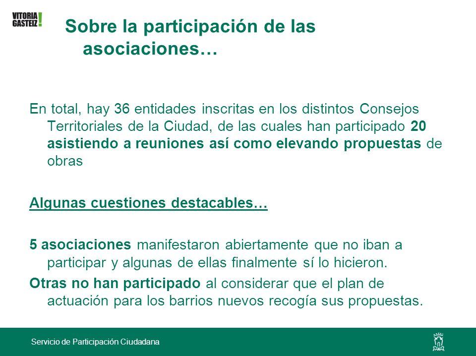 Sobre la participación de las asociaciones…