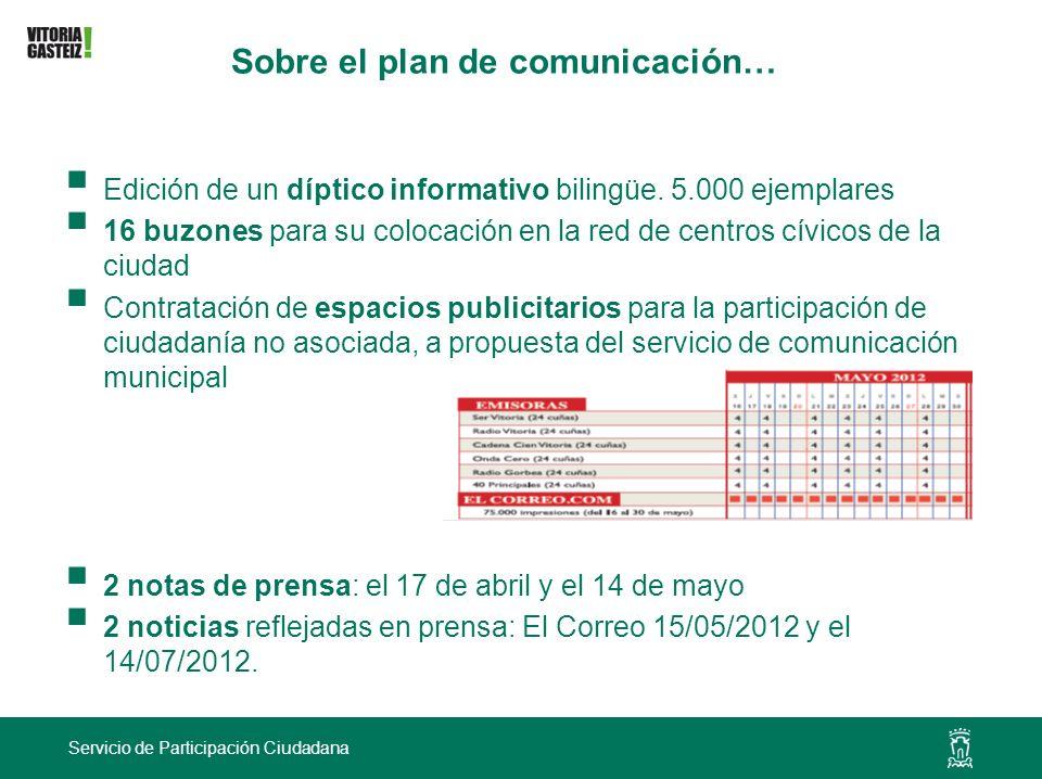 Sobre el plan de comunicación…