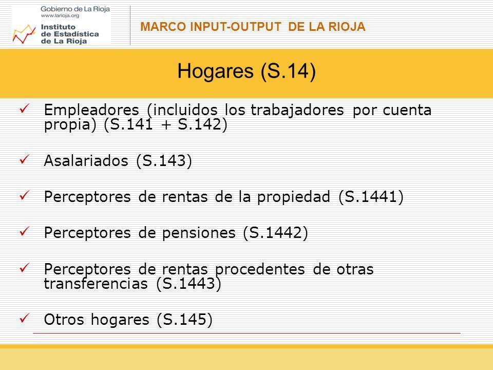 Hogares (S.14) Empleadores (incluidos los trabajadores por cuenta propia) (S.141 + S.142) Asalariados (S.143)