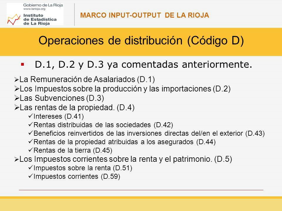 Operaciones de distribución (Código D)