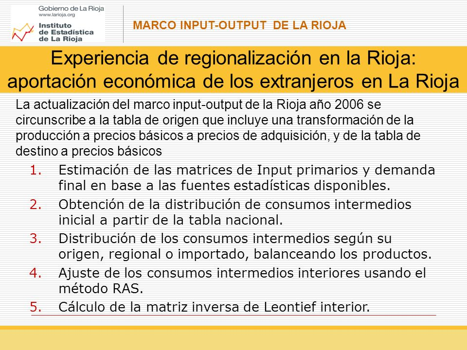 Experiencia de regionalización en la Rioja: aportación económica de los extranjeros en La Rioja