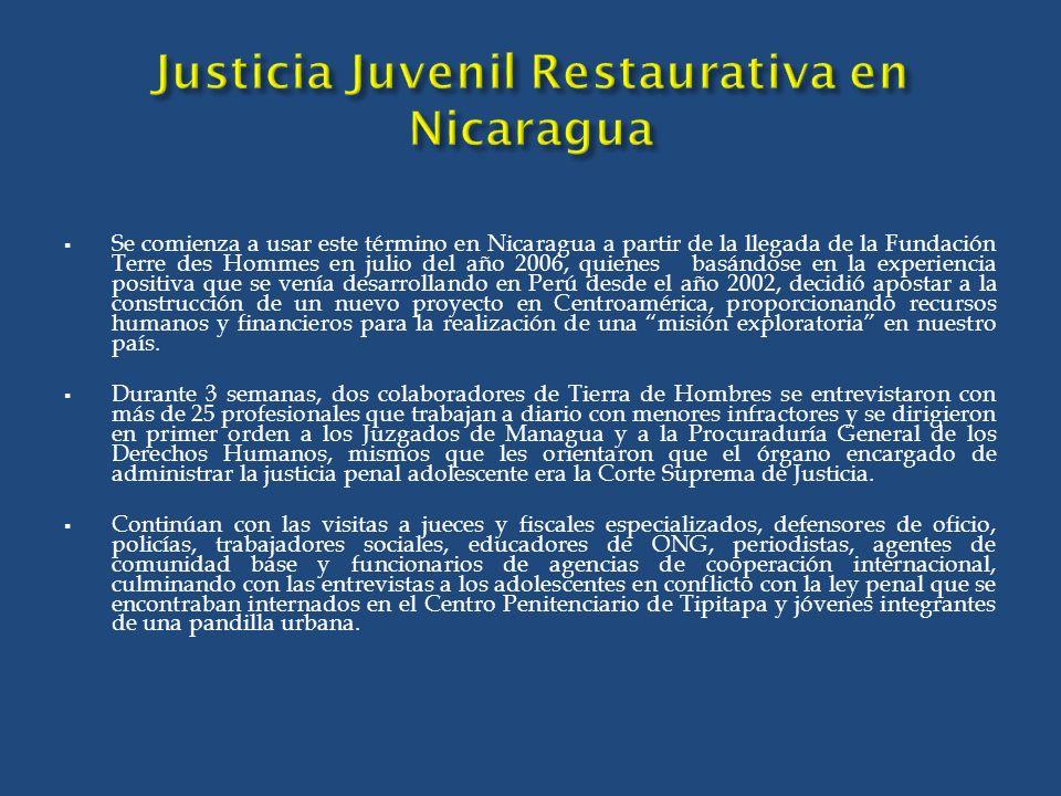 Justicia Juvenil Restaurativa en Nicaragua
