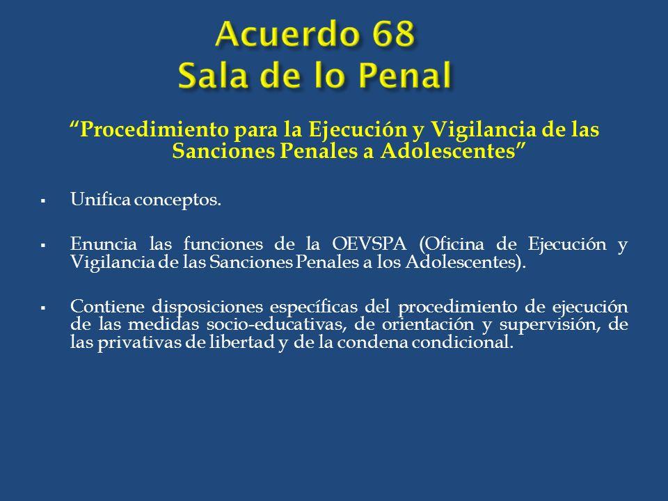 Procedimiento para la Ejecución y Vigilancia de las Sanciones Penales a Adolescentes