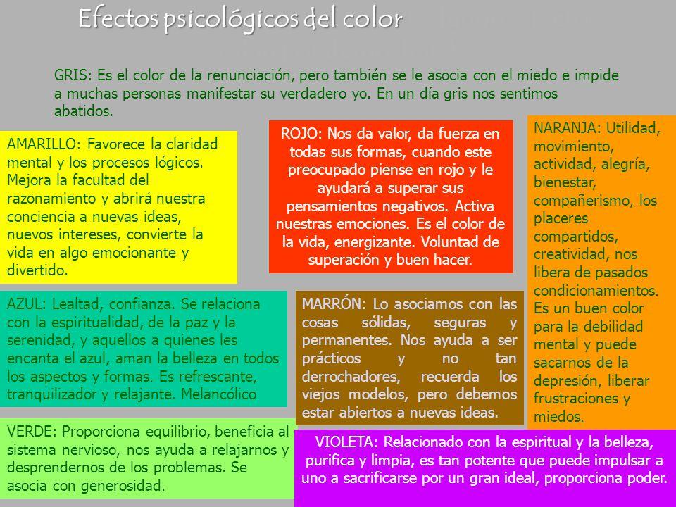 Efectos psicológicos del color (Algunos efectos