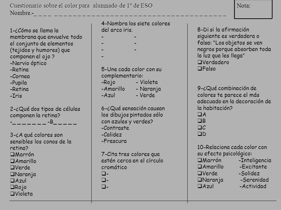 Cuestionario sobre el color para alumnado de 1º de ESO Nota: