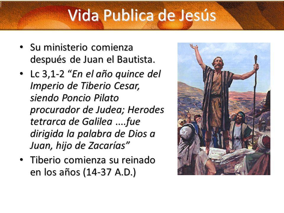 Vida Publica de Jesús Su ministerio comienza después de Juan el Bautista.