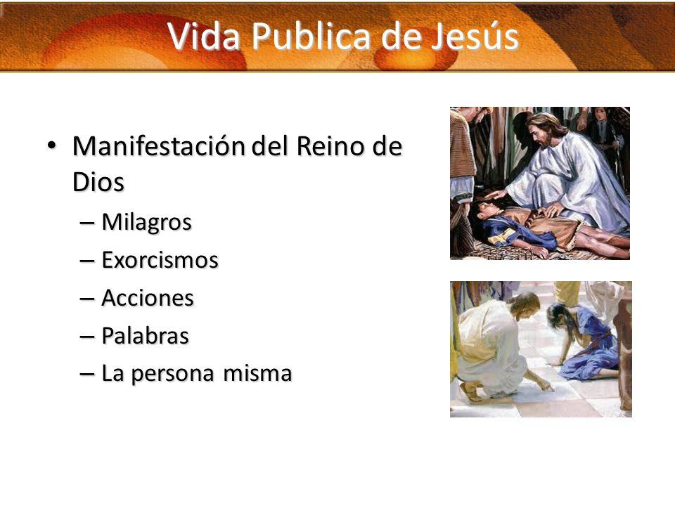 Vida Publica de Jesús Manifestación del Reino de Dios Milagros