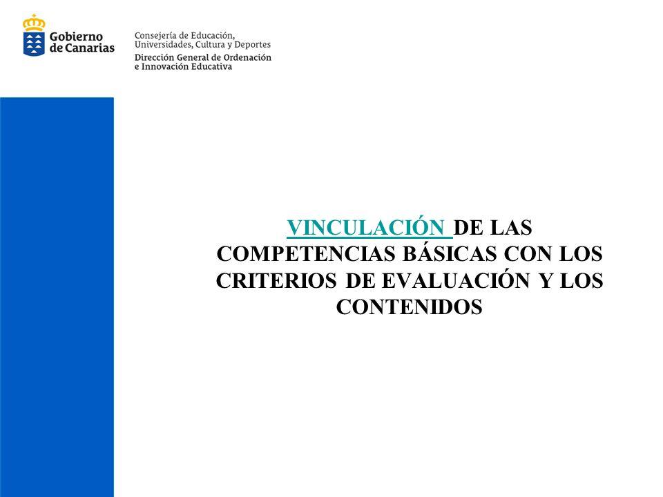 VINCULACIÓN DE LAS COMPETENCIAS BÁSICAS CON LOS CRITERIOS DE EVALUACIÓN Y LOS CONTENIDOS
