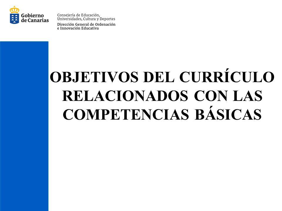 OBJETIVOS DEL CURRÍCULO RELACIONADOS CON LAS COMPETENCIAS BÁSICAS