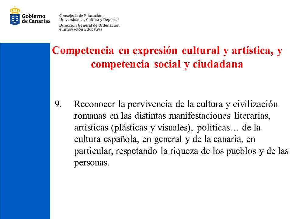 Competencia en expresión cultural y artística, y competencia social y ciudadana