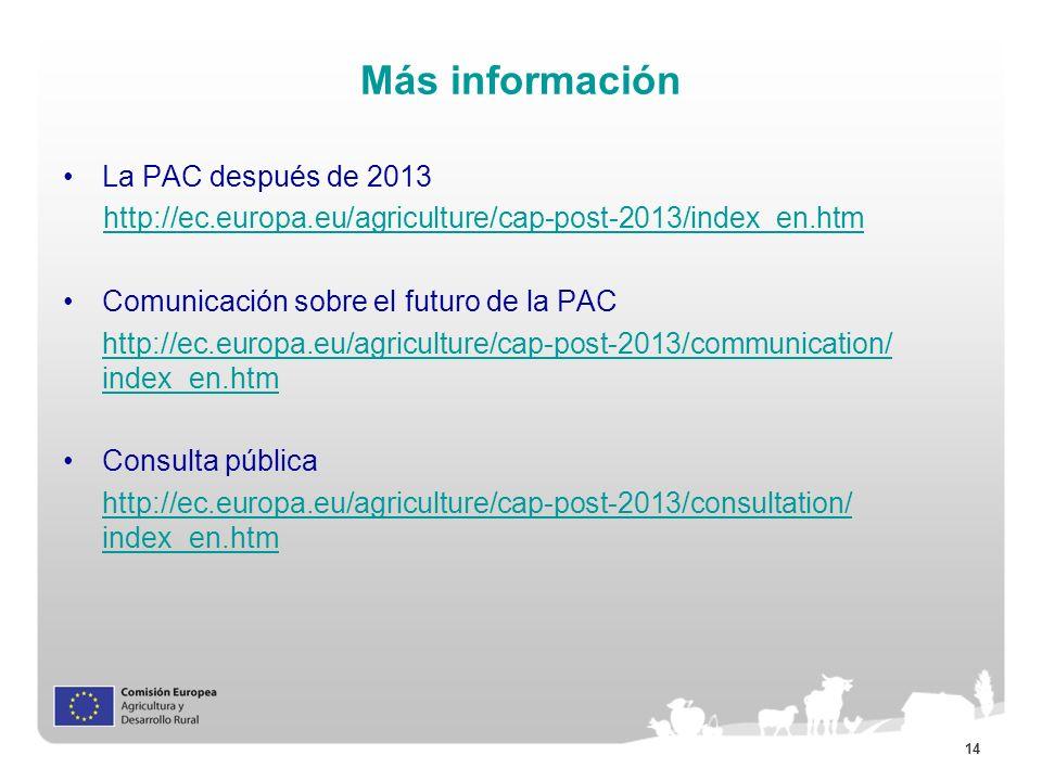 Más información La PAC después de 2013