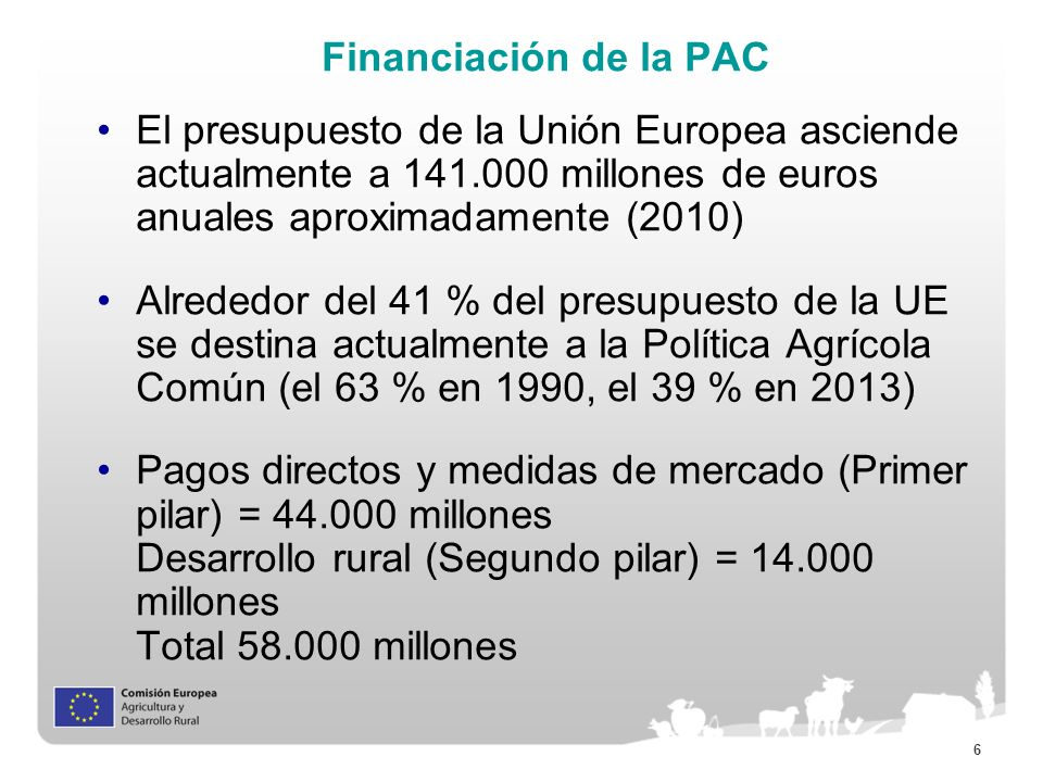 Financiación de la PAC El presupuesto de la Unión Europea asciende actualmente a 141.000 millones de euros anuales aproximadamente (2010)